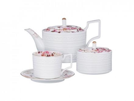 Роскошь Набор чайный 14 пр., чашка 290мл, чайник 1150мл, сахарница 380мл, кост. фрф