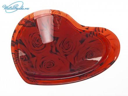 Набор 3 шт салатников в форме сердца, стекло