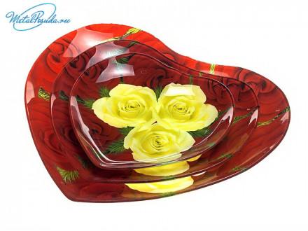 Набор салатников 3 предмета СЕРДЦЕ стекло