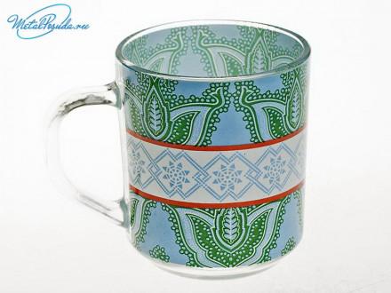 Кружка 250 мл для чая стекло Цветы