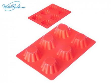 Форма силиконовая 25.5 x 18 x 3.5 см, для кексов,гофрированная, 4 цвета, HS-027, VETTA 891G005