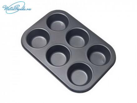Форма 26,5 x 18 x 3 см для выпечки булочек, 6 ячеек, SL-3104, VETTA 846G059