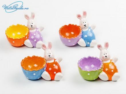 Набор 4 предмета подставки под яйцо керамика