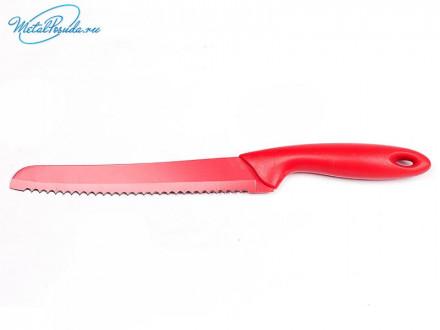 Нож 17 см для хлеба металл цветной  44857