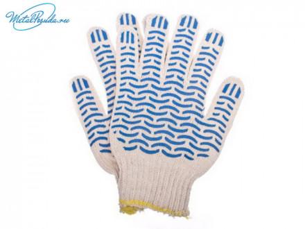 """Перчатки вязаные люкс х/б с ПВХ напылением 5 нитей """"Волна"""""""