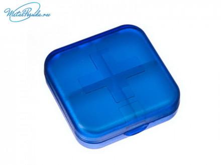 Бокс для таблеток 4 ячеек 6,5х6,5 см 3 цвета