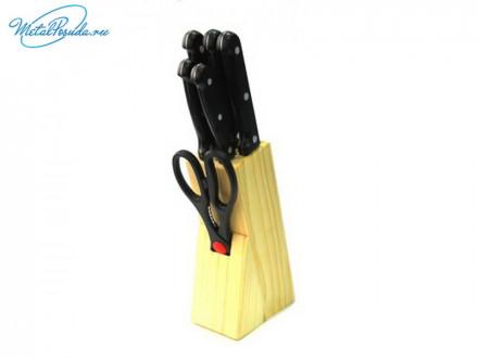 Набор ножей 6 предмета(ножи кух. 9см,12,5см,15см,20см, 20см ножницы)