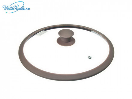 Крышка 28 см стеклянная с силиконовым ободом SATOSHI 848G038
