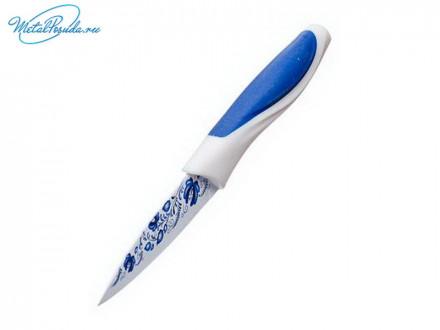 Нож 9см кухонный с антиналипающим покрытием, принт Гжель