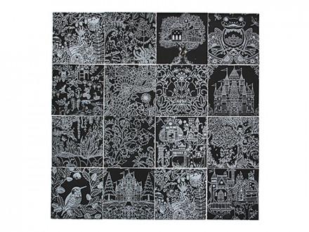 Набор антистресс (раскраска и гравюра) со стеком, бумага, 15х15см, 16 дизайнов