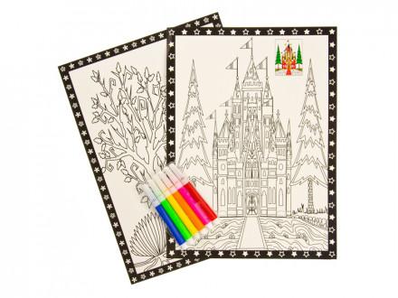 Раскраска антистресс (2 листа), бумага, 26х19см, 6 фломастеров, 8 дизайнов