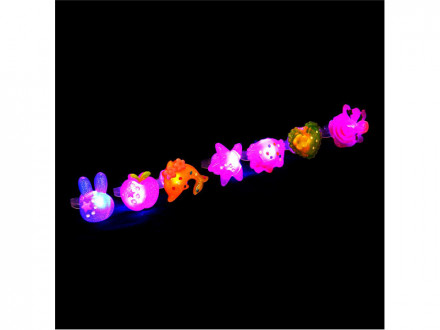 """Кольцо световое """"Микс"""", пластик, 3,5х3см, 7 дизайнов"""