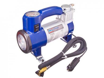 Компрессор автомобильный, штекер к прикуривателю, LED фонарь, 12V, 150W, 35 л/мин