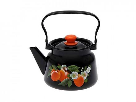 Чайник 2,3л черный декор с пластиковой  кнопкой