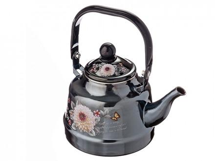 Чайник эмалированный 1,7л,Иллюзия Георгина