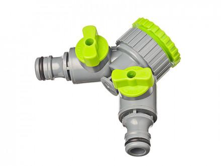 Разветвитель 2-х канальный, штуцерный, 3/4'-1/2', регулируемый, пластик