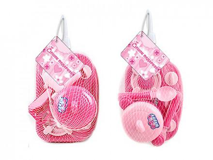 """Набор детской посуды с плитой """"Розовый"""", пластик, 20х12х10см, 2 дизайна"""