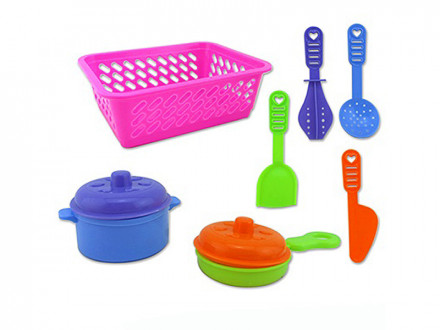 Набор детской посуды в корзине, пластик, 17х13х6,5см