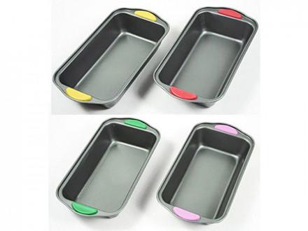 Форма для выпечки, прямоугольная 29,5х15х6,5см, силиконовые ручки, 4 цвета