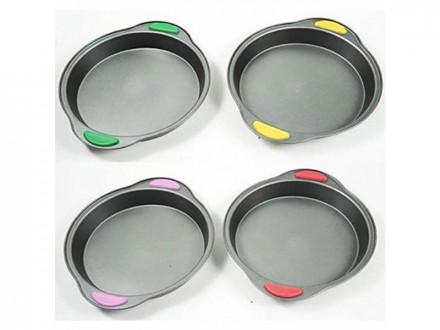 Форма для выпечки, 24,5x4см, силиконовые ручки, 4 цвета