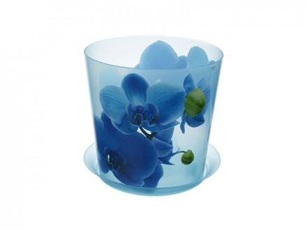 """Кашпо """"ДЕКО"""" d-125мм 1,2л с подставкойодставкой Орхидея голубая"""