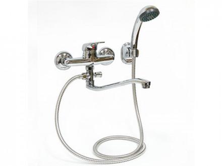 Смеситель  для ванны, Klabb длинный  изогнутый  излив, керамический  картридж 40 мм, хром