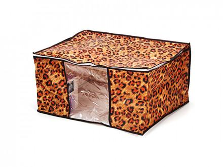 Чехол-кофр для хранения подушек и одеял с рисунком леопард, спанбонд влагостойкий, 60x45x30см