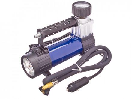 Компрессор автомобильный, штекер прикур, LED фонарь, в сумке 12V, 140W, 25 л/мин, металл
