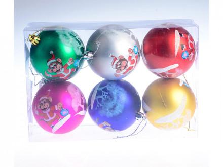 Набор 6 шт новогоднее украшение на елку, 7 см, пластик
