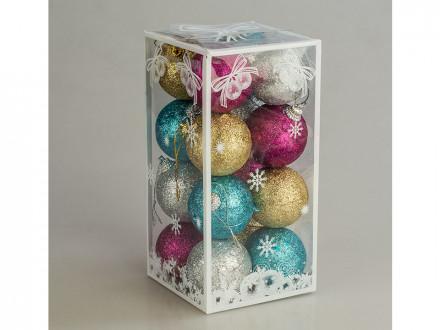 Новогоднее украшение на елку пластмассовая 5см уп 16шт в-7150  s-514