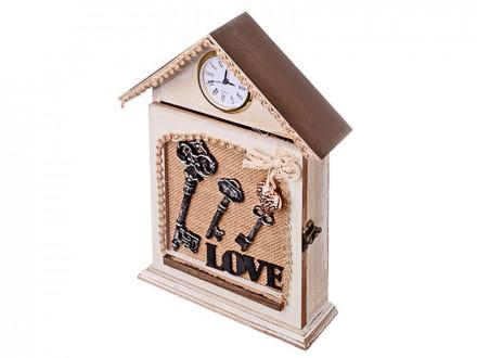 Ключница с часами, 4 крючка, МДФ, металл, 28,5х21,5х6см