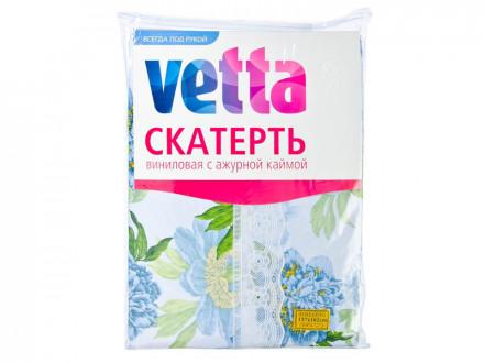 Скатерть виниловая с ажурной каймой, 137x182см, Синие пионы VETTA
