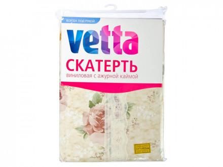 Скатерть виниловая с ажурной каймой, 137x182см, Пионы VETTA