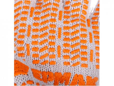 Перчатки вязаные ЛЮКС х/б с ПВХ напылением, 5 нитей, белые, 62 гр, пакет ЕРМАК