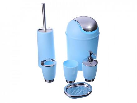 Набор для ванной 6 предметов, пластик, 2 цвета VETTA