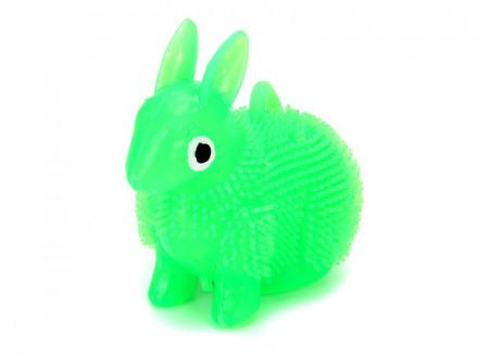 Игрушка-антистресс пушистая Заяц светящиеся, резина, 8см, 4 цвета