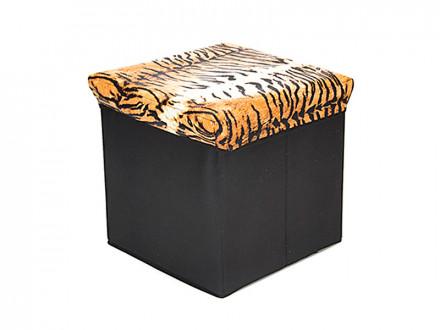 Пуфик-куб складной, ПУ, спанбонд, картон, 31х31х31см, до 80 кг, Звериный принт