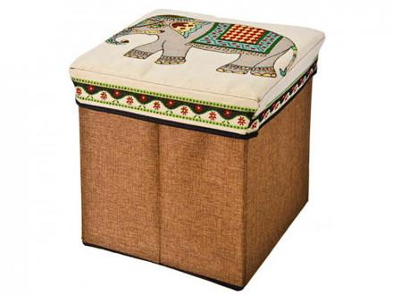 """Пуфик-куб складной, 31х31х31см, текстиль, МДФ, до 40 кг, """"Слоны"""" 2 дизайна"""
