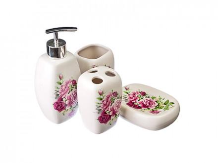 """Набор для ванной 4 пр., керамика, """"Розы"""""""
