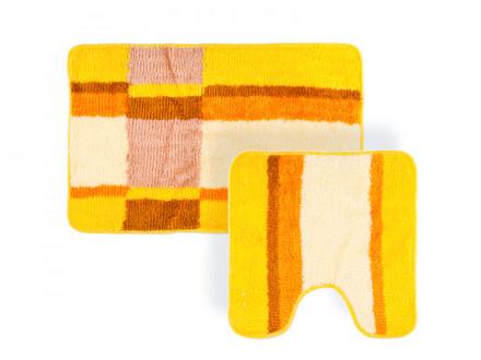 """Набор ковриков 2шт для ванной и туалета, акрил, 50х80см + 50х50см, """"Геометрия"""" оранжевый VETTA"""