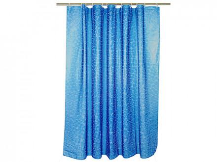 Шторка для ванной, винил, 180x180см, 12 колец, 3D, круги, синий VETTA