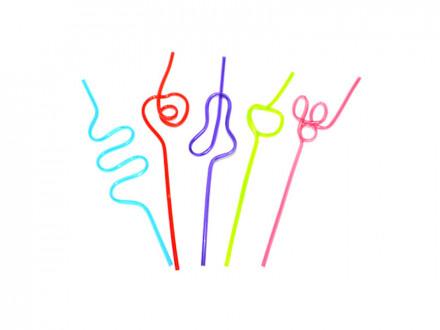 """Трубочки для напитков 5шт, """"Крэйзи"""", фигурные, цветные, 25см"""