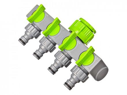 Разветвитель 4-х канальный, штуцерный, 3/4'-1/2', регулируемый, пластик INBLOOM