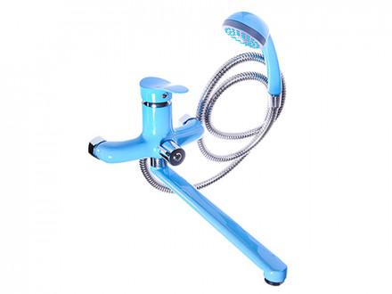 Смеситель Klabb 21 для ванны, дл. прямой излив 30см, дивертор, керам. картридж 35мм, голуб глянец D