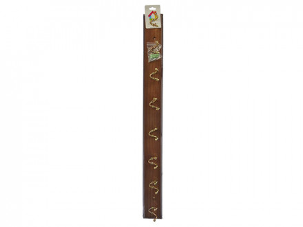 Вешалка настенная с 8-ю двойными крючками (A -grade) 69х6,5х6см, коричневая, лак