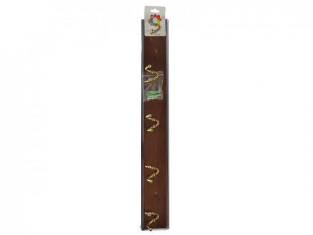 Вешалка настенная, 5 двойных крючков, 49х6,5х6см, дерево (A -grade), металл, коричневая, лак