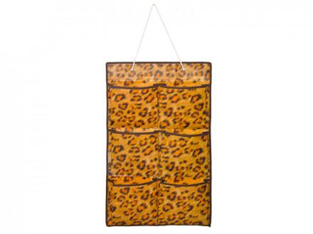 Подвесная секция для хранения мелочей 6 карманов, леопард, спанбонд влагостойкий, 37x60см