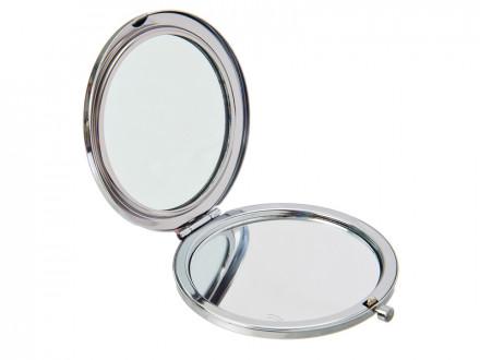 Зеркало карманное, нерж.сталь, d7см, 4 дизайна