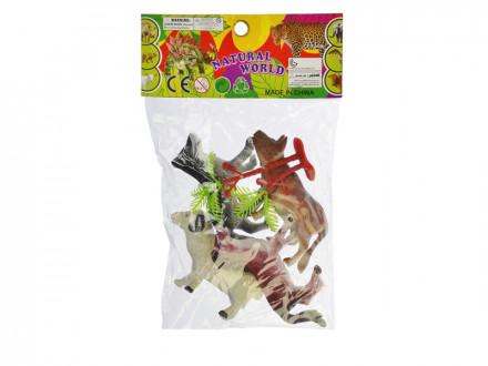 """Набор фигурок """"Дикие животные/Домашние животные/Динозавры"""", 4шт, ПВХ, 6 дизайнов"""