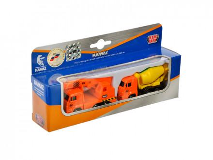 Стройтехника набор из 2-x машин КАМАЗ, металл, 7,5см, 2 дизайна